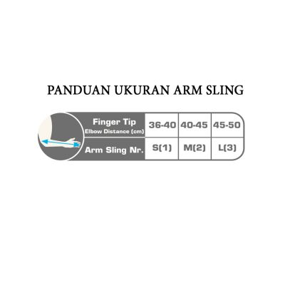size chart arm sling 302